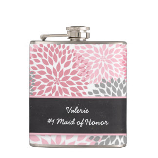 Pink Gray Dahlia Maid of Honor wedding party gift Flasks