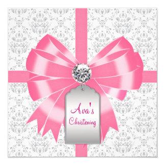 Pink Gray Damask Baby Girl Baptism Christening Card
