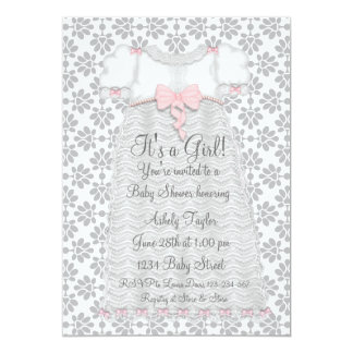Pink Gray Damask Baby Girl Shower 13 Cm X 18 Cm Invitation Card