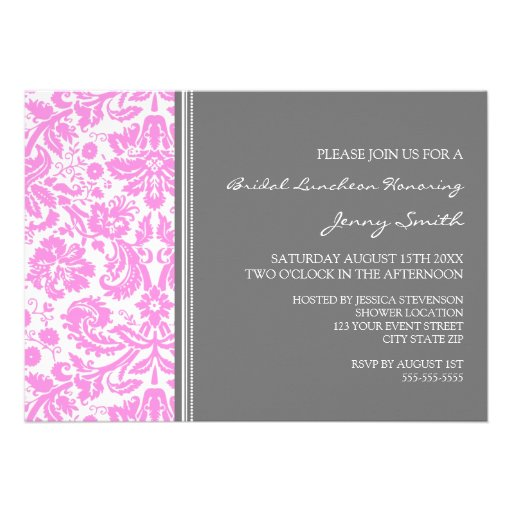 Pink Gray Damask Bridal Lunch Invitation