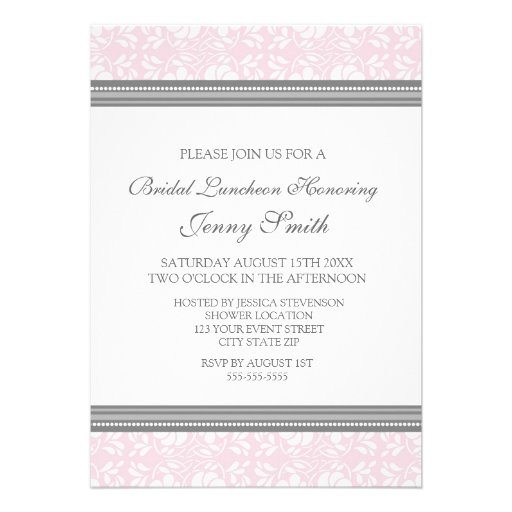 Pink Gray Damask Bridal Lunch Invitation Cards