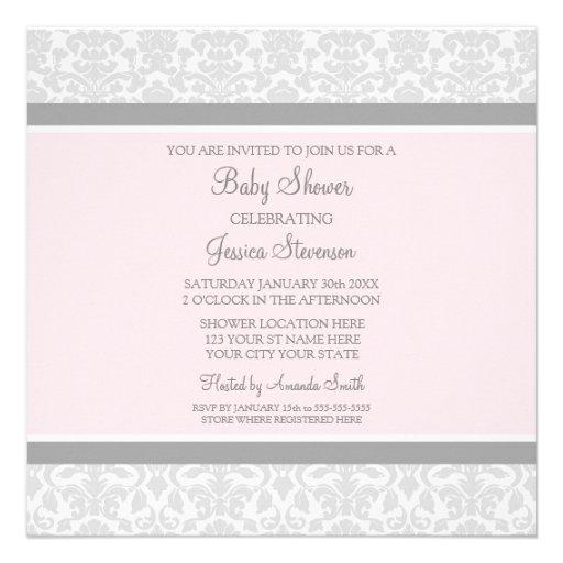Pink Gray Damask Custom Baby Shower Invitations