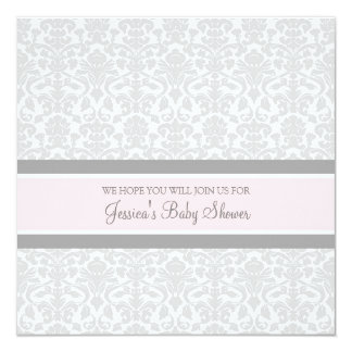 Pink Gray Damask Custom Baby Shower Invitations