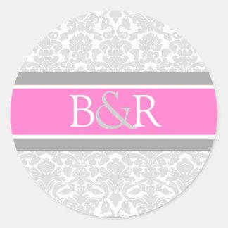 Pink Gray Damask Monogram Envelope Seal Round Sticker