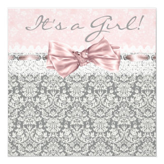 Pink Gray Damask Pink and Gray Baby Girl Shower 13 Cm X 13 Cm Square Invitation Card