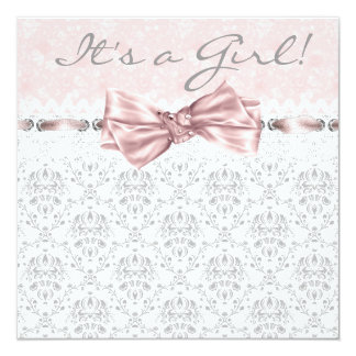 Pink Gray Damask Pink Gray Baby Girl Shower 13 Cm X 13 Cm Square Invitation Card
