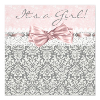 Pink Gray Damask Pink Gray Baby Girl Shower Announcements