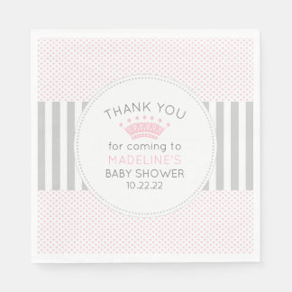 Pink Gray dot stripes crown baby shower napkins Disposable Serviette