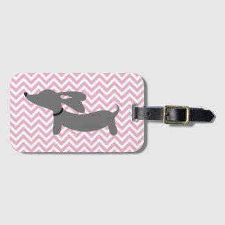 Pink & Gray Doxie Wiener Dog Luggage Bag Tag