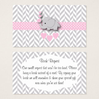Pink Gray Elephant Baby Shower Book Request Business Card