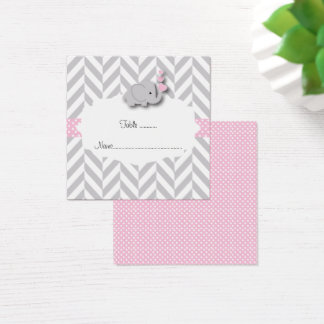 Pink & Gray Elephant Baby Shower Flat Place Card