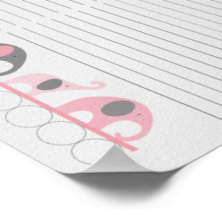 Pink Gray Elephant Baby Shower Guest Sign In sheet