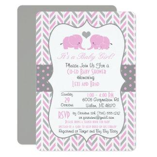 Pink Gray Elephant Baby Shower Invitation