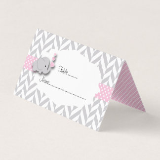 Pink & Gray Elephant Baby Shower   Place Cards