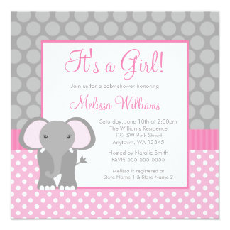 "Pink Gray Elephant Polka Dot Girl Baby Shower 5.25"" Square Invitation Card"