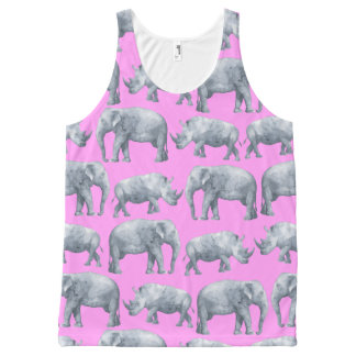 Pink Gray Elephants and Rhinos Watercolor Pattern All-Over Print Tank Top