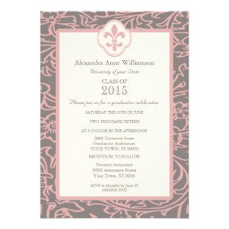 Pink Gray Fleur de Lis Floral Formal Graduation Custom Invite