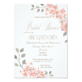 Pink & Gray floral Bridal Shower Invitation