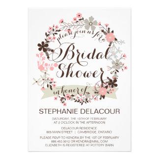 Pink Gray Floral Wreath Bridal Shower Invitation