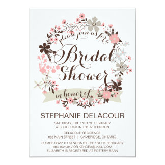 Pink & Gray Floral Wreath Bridal Shower Invitation