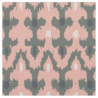 Pink Gray Geometric Ikat Tribal Decorative Pattern Fabric