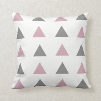 Pink & Gray  Geometric Triangle Throw Pillow