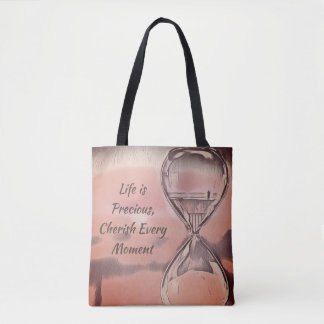 Pink Gray Hourglass Life Is Precious Quotes Tote Bag