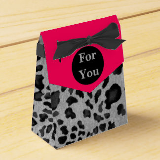 """Pink & Gray Leopard Print"" Party Favour Boxes"