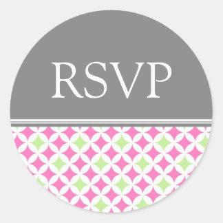 Pink Gray Lime Wedding RSVP Envelope Seals Round Sticker