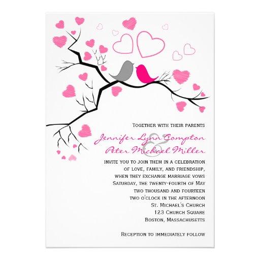 Pink, Gray Lovebirds & Hearts Wedding Invitation