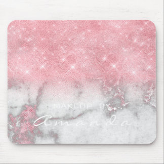 Pink Gray Marble Sparkly Glitter Branding Beauty Mouse Pad