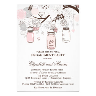 "Pink & Gray Mason Jars Engagement Party Invitation 5"" X 7"" Invitation Card"