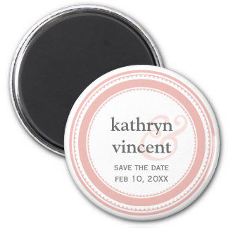 Pink gray medallion ampersand circle save the date 6 cm round magnet