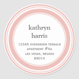 Pink gray medallion modern circle address label round sticker
