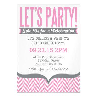 Pink Gray Modern Magnetic Birthday Invitations Magnetic Invitations