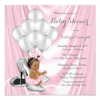 Pink Gray Pearl High Heel Ethnic Baby Shower 13 Cm X 13 Cm Square Invitation Card