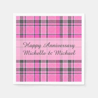Pink Gray Plaid Tartan | Add Your Name Paper Napkin