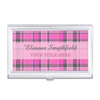 Pink Gray Plaid Tartan Business Card Holder