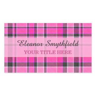 Pink Gray Plaid Tartan Pack Of Standard Business Cards