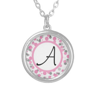 Pink & Gray Polka Dots Add Your Letter Silver Plated Necklace