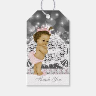 Pink Gray Princess Baby Shower Gift Tags
