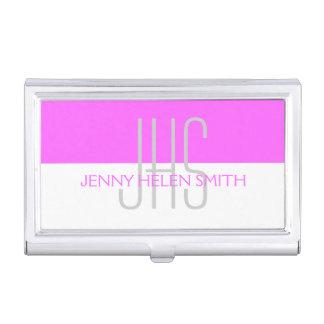 Pink gray professional monogram stripes business card holder