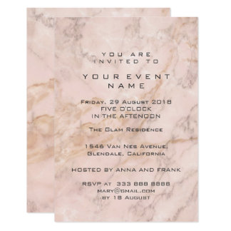 Pink Gray Rose Gold Marble Stone Gray Event Luxury Card