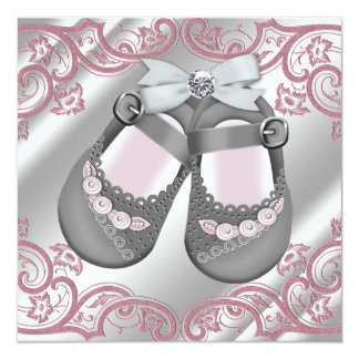 Pink Gray Shoes Swirls Pink Gray Baby Girl Shower 13 Cm X 13 Cm Square Invitation Card