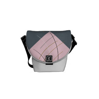 Pink & Gray Square art design messenger Bag