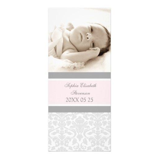 Pink Gray Template New Baby Birth Announcement