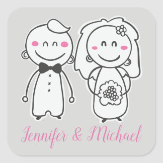 Pink & Gray Wedding  Bride And Groom, Engagement Square Sticker