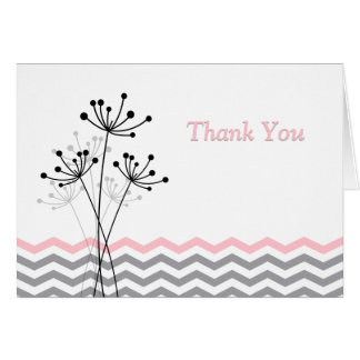 Pink Gray White Floral Chevron Thank You Card Greeting Card