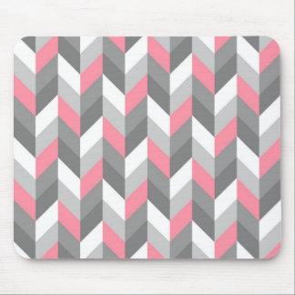 Pink Gray White Herringbone Chevron ZigZag Pattern Mouse Pad