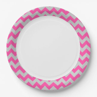 Pink Gray Zigzag Chevron Pattern Girly 9 Inch Paper Plate